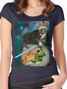 sushi jedi cat Women's Fitted Scoop T-Shirt