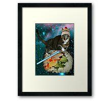 sushi jedi cat Framed Print