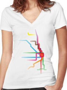 Chicago CTA Rainbow Map Women's Fitted V-Neck T-Shirt
