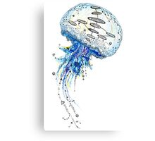 Watercolor and Ink Jellyfish Painting Canvas Print