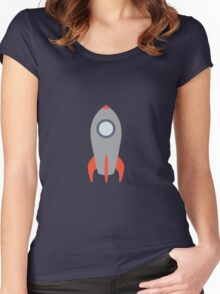 Retro Rocket Ship Women's Fitted Scoop T-Shirt