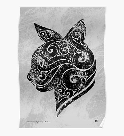 Swirly Cat Portrait Poster