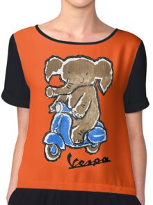 Vespa Riding Elephant Chiffon Top