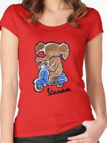 Vespa Riding Elephant Women's Fitted Scoop T-Shirt