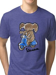 Vespa Riding Elephant Tri-blend T-Shirt