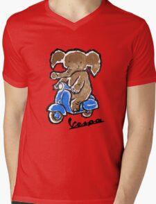 Vespa Riding Elephant Mens V-Neck T-Shirt