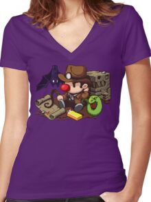 Spelunky Women's Fitted V-Neck T-Shirt