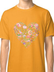 Heart of Summer Watercolor Floral Illustration Classic T-Shirt