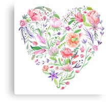 Heart of Summer Watercolor Floral Illustration Canvas Print