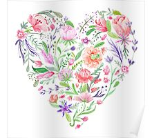 Heart of Summer Watercolor Floral Illustration Poster