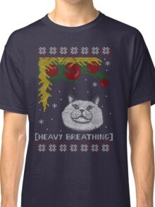 Christmas Shirt Ugly Cat Sweater T Meowy Funny Xmas Mens Gift Tee Holiday Kitten Long Sleeve Butt Lover Party Cute Classic T-Shirt