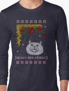 Christmas Shirt Ugly Cat Sweater T Meowy Funny Xmas Mens Gift Tee Holiday Kitten Long Sleeve Butt Lover Party Cute Long Sleeve T-Shirt