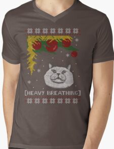 Christmas Shirt Ugly Cat Sweater T Meowy Funny Xmas Mens Gift Tee Holiday Kitten Long Sleeve Butt Lover Party Cute Mens V-Neck T-Shirt