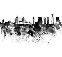 Lisbon skyline in black watercolor Photographic Print