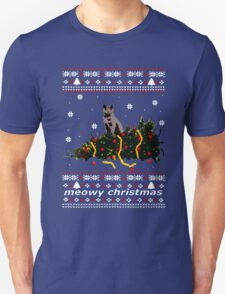Christmas T Shirt Ugly Cat Sweater Meowy Funny Xmas Mens Gift Tee Holiday Kitten Long Sleeve Butt Lover Party Cute Unisex T-Shirt