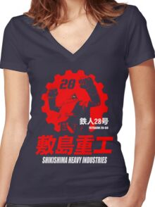 New Gigantor Tetsujin-28 go Shikishima Heavy Industries Japan Retro Mecha Anime Women's Fitted V-Neck T-Shirt