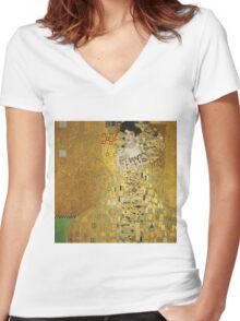 Gustav Klimt  - Portrait of Adele  Women's Fitted V-Neck T-Shirt