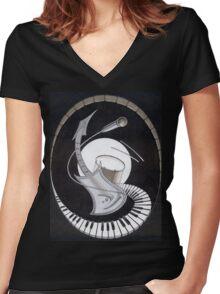 Swinging Music Women's Fitted V-Neck T-Shirt