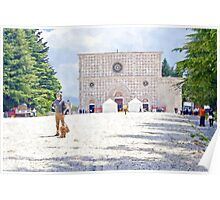 L'Aquila: church and man with dog Poster