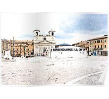 L'Aquila: square with church Poster