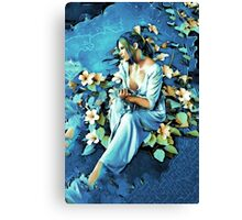 GIRL AND FLOWERS 7D Canvas Print