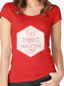 Skeleton Lake (white print) Women's Fitted Scoop T-Shirt