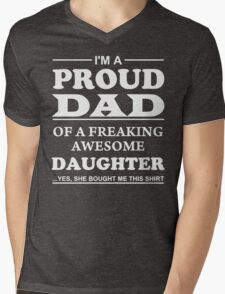 Proud Dad Of Awesome Daughter - Father's Day T-Shirt Mens V-Neck T-Shirt