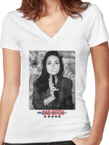 Lindsay Lohan - GUN. Women's Fitted V-Neck T-Shirt