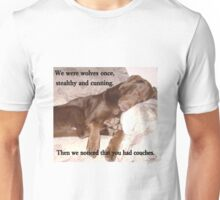 """Chocolate Labrador Puppy """"Wolf"""" Is Sleeping On Couch Unisex T-Shirt"""
