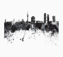 Munich skyline in black watercolor One Piece - Short Sleeve