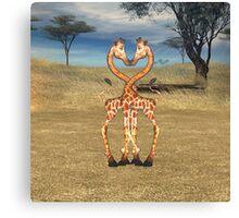 Giraffes Heart True Love Canvas Print