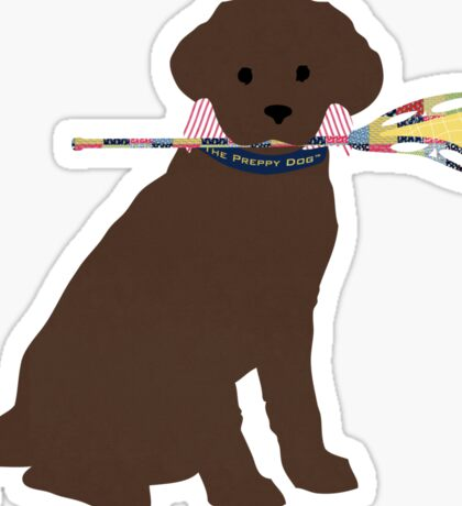 Preppy Chocolate Lab Lacrosse Dog Sticker