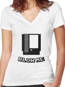 Retro game cartridge Blow me Women's Fitted V-Neck T-Shirt