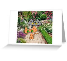 Two Cats Walking Through A Garden Greeting Card