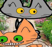 Two Cats Walking Through A Garden Sticker