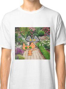 Two Cats Walking Through A Garden Classic T-Shirt