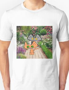 Two Cats Walking Through A Garden T-Shirt