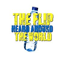 Water Bottle Flip The Flip Heard Around The World Talent Show Vintage Distressed Graphic Photographic Print