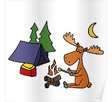 Cool Funky Moose Camping Poster