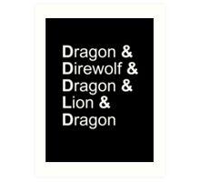 dragon&direwolf&dragon&lion&dragon Art Print