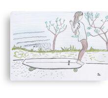 Longboard life colour pencil illustration Canvas Print