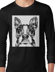 Boston Terrier Dog Black And White Art - Sharon Cummings Long Sleeve T-Shirt