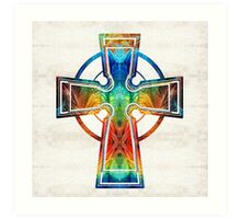 Colorful Celtic Cross by Sharon Cummings Art Print