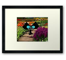 Black Cat At A Garden Framed Print