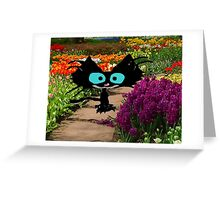 Black Cat At A Garden Greeting Card