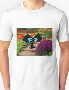 Black Cat At A Garden T-Shirt