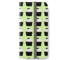 chocolate cupcakes with vanilla icing on a green background iPhone Wallet/Case/Skin