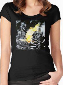 Yellow Koi - Black And White Art Women's Fitted Scoop T-Shirt