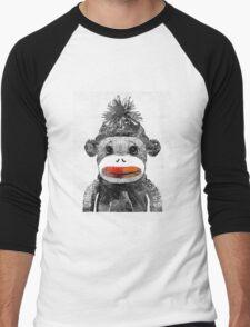 Sock Monkey Art In Black White And Red - By Sharon Cummings Men's Baseball ¾ T-Shirt
