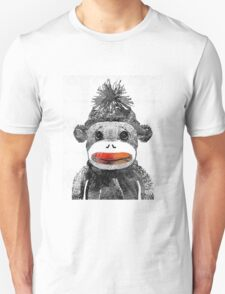 Sock Monkey Art In Black White And Red - By Sharon Cummings T-Shirt